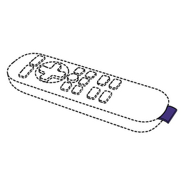 remote control drawing. purple-colored fabric tags attached to remote control found inherently distinctive drawing y