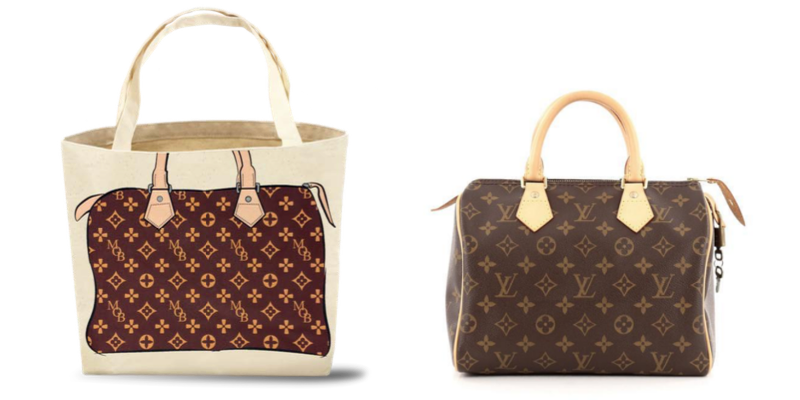 "9a74e46e83d7b8 ... Bag's signature tote (which on one side says ""My Other Bag,"" and on the  other has a cartoon picture of a bag) from that of Louis Vuitton's ""Speedy  ..."